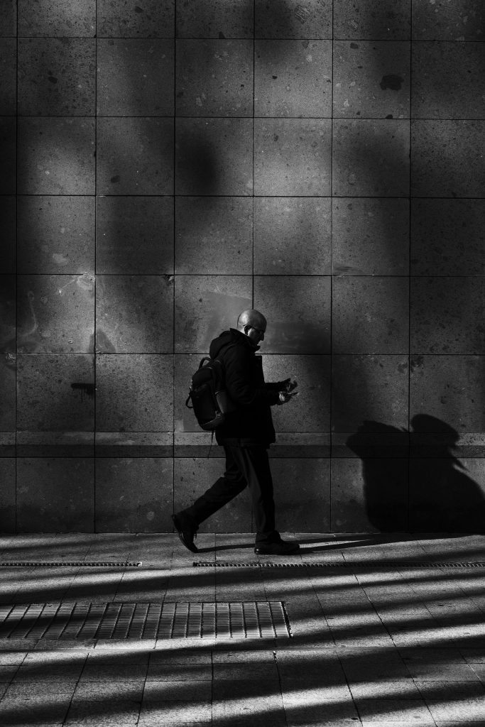 Man walking on without any purpose